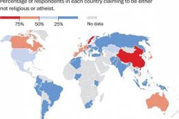 Peta negara-negara yang penduduknya paling banyak tidak beragama di dunia. Negara atau wilayak berwarna merah menunjukkan lebih dari 75 pendduduk tidak beragama atau ateis.