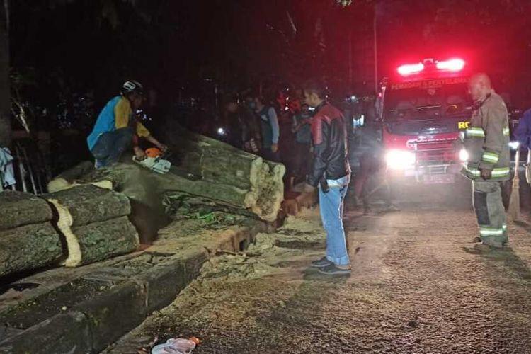 Petugas Diskar PB Kota Bandung tengah mengevakuasi pohon tumbang di jalan Taman Sari Kota Bandung, dua orang tewas dalam kecelakaan ini.