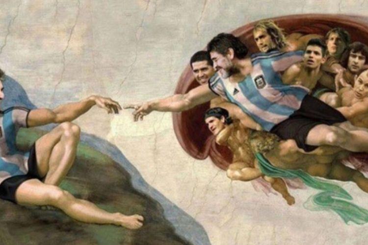 Lionel Messi dan Diego Maradona dalam lukisan di Buenos Aires