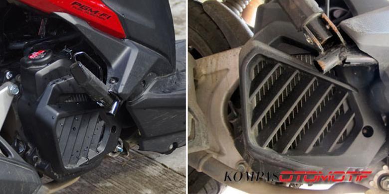 Radiator untuk skutik, letaknya kurang menguntungkan karena ada di bawah yang mudah terkena kotoran.