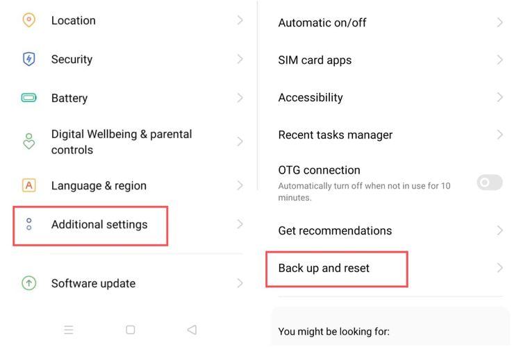 Cara melakukan factory reset pada ponsel Realme.