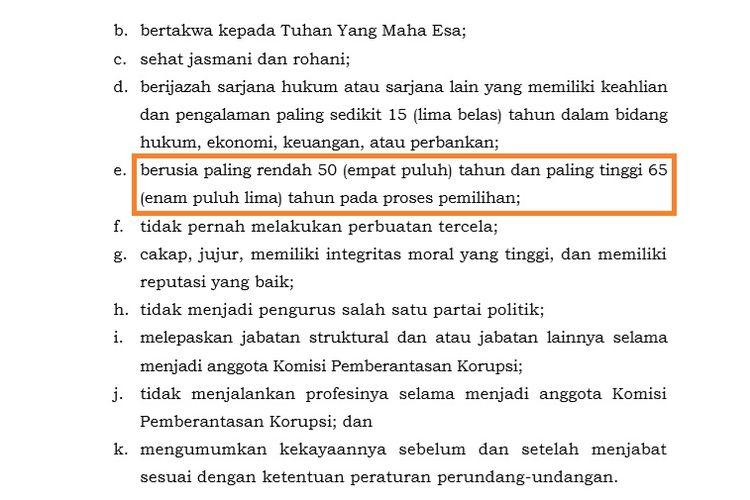 Petikan pasal soal syarat calon pimpinan KPK dalam UU KPK hasil revisi. Terdapat tipo dalam poin yang mengatur batasan umur.