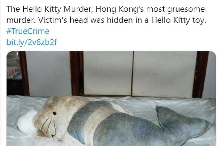 Boneka duyung berkepala Hello Kitty yang digunakan pembunuh Fan Man-yee untuk menyembunyikan potongan kepala wanita itu.