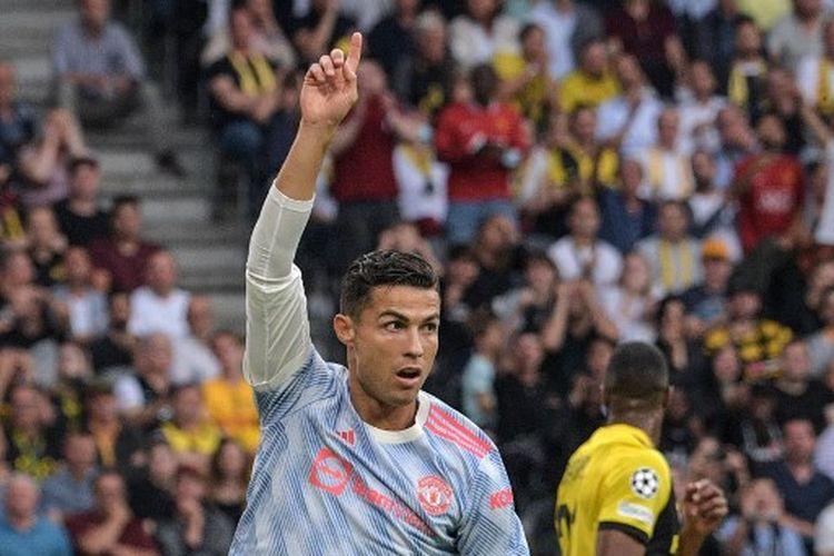 Cristiano Ronaldo ketika merayakan golnya pada laga pertama Grup F Liga Champions yang mempertemukan Young Boys vs Man United di Wankdorf Stadium, Selasa (14/9/2021) malam WIB.
