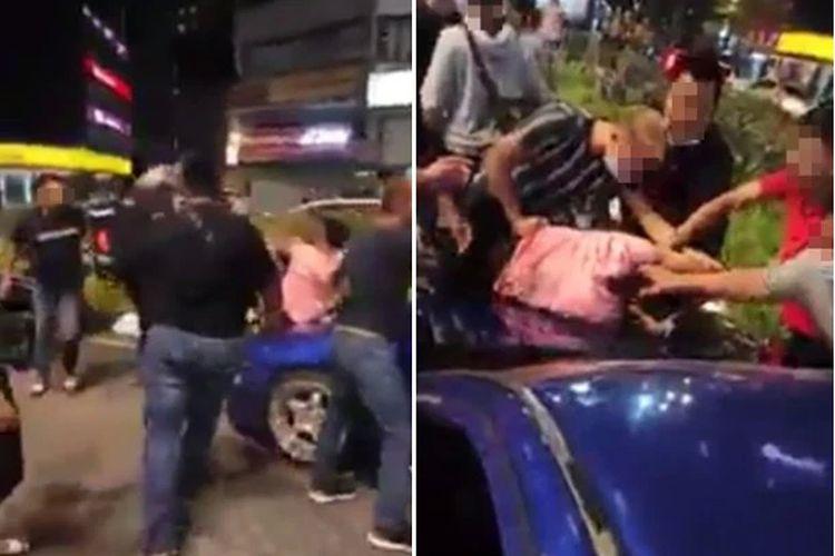 Remaja mabuk yang hendak tabrak lari di dekat Bukit Bintang, Malaysia, babak belur dihajar massa pada Minggu (6/12/2020)/