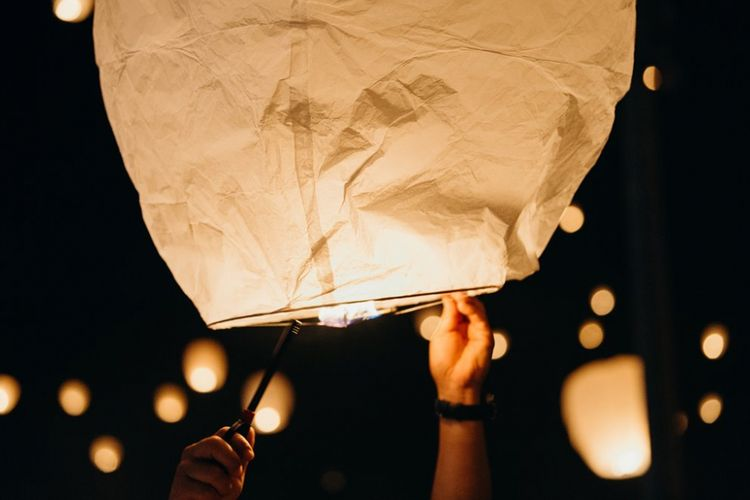Penerbangan lampion di Lantern Festival Korea.