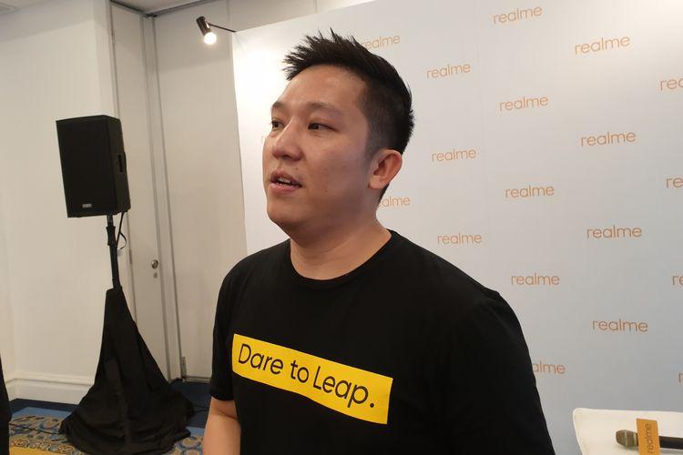 Product Manager Realme Indonesia, Felix Christian, saat dijumpai KompasTekno di sela peluncuran Realme XT di Jakarta, Rabu (23/10/2019).