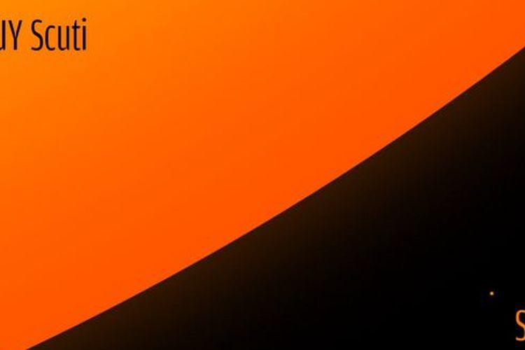 Ilustrasi bintang UY Scuti dibanding matahari. Bintang UY Scuti adalah bintang terbesar di semesta, ukuran jari-jarinya 1.700 kali lebih besar dibanding Matahari.
