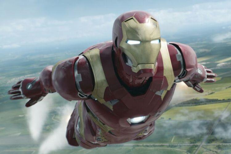 Superhero Iron Man, yang diperankan Robert Downey Jr, dalam film yang diproduksi Marvel Studios.