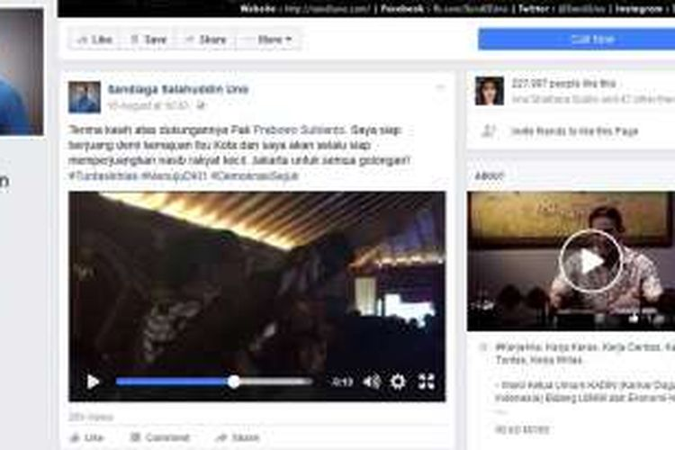 Video berisi pernyataan dukungan Ketua Umum Partai Gerindra Prabowi Subianto kepada Sandiaga Uno untuk maju Pilkada DKI Jakarta 2017. Video ini diunggah di Facebook Sandiaga.