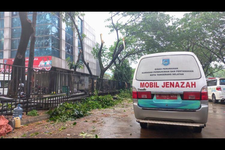 Pohon tumbang menimpa mobil ambulans pemulasaran jenazah Covid-19 di kawasan Serpong, Tangerang Selatan, Senin (20/9/2021).