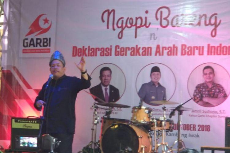 Wakil ketua DPR RI Fahri Hamzah ketika menghadiri acara ?ngopi bareng Deklarasi Gerakan Arah Baru Indonesia (GARBI) di Palembang, Sumatera Selatan, Minggu (14/10/2018).