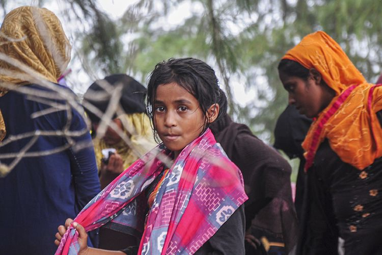 A Rohingya girl and women who survived the voyage to Aceh, on Friday (4/6/2021)