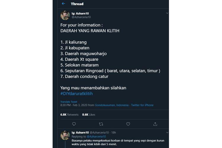 Postingan mengenai daerah rawan Klithih viral di Twitter (04/02/2020).
