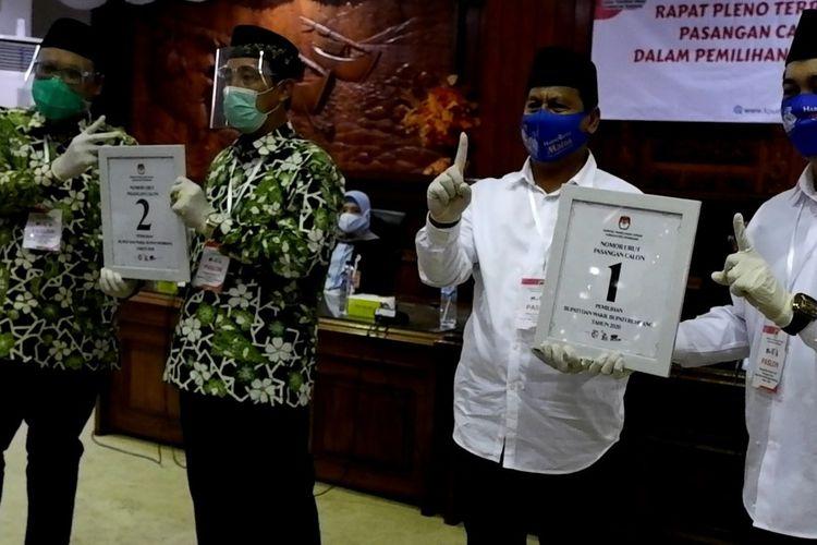 Dua pasangan calon Bupati dan wakil Bupati yang resmi ditetapkan sebagai kontestan Pilkada Rembang, Jawa Tengah telah mengantongi nomor urut, Kamis (24/9/2020).