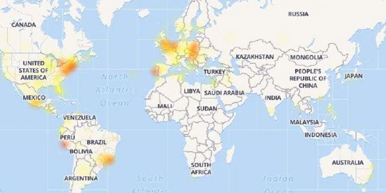 Peta Down Detector memperlihatkan tumbangnya empat layanan populer milik Facebook pada 4 September 2018 sebagian besar berdampak pada para pengguna di Amerika Serikat dan Eropa.