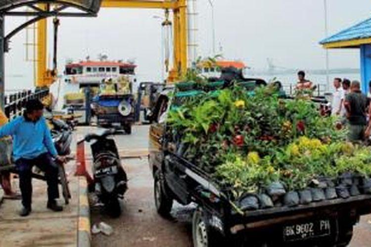 Antrean kendaraan yang akan masuk ke kapal roro (roll on roll off) Dumai-Pulau Rupat, dengan latar belakang pelabuhan Pelindo Dumai. Dumai merupakan pintu utama ekspor minyak kelapa sawit mentah (CPO) Sumatera