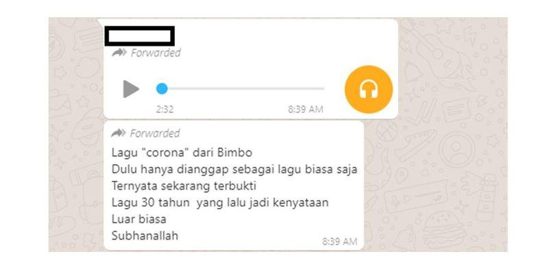 Pesan berantai yang menyebar di Whatsapp tentang lagu Bimbo berjudul Corona yang disebut sudah ada sejak 30 tahun lalu. Lagu itu merupakan lagu baru yang belum lama selesai dikerjakan Bimbo.