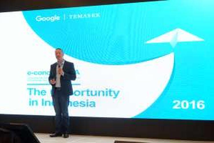 Keusgen, Managing Director Google Indonesia saat memaparkan hasil riset industri digital Indonesia di Jakarta, Kamis (25/8/2016)