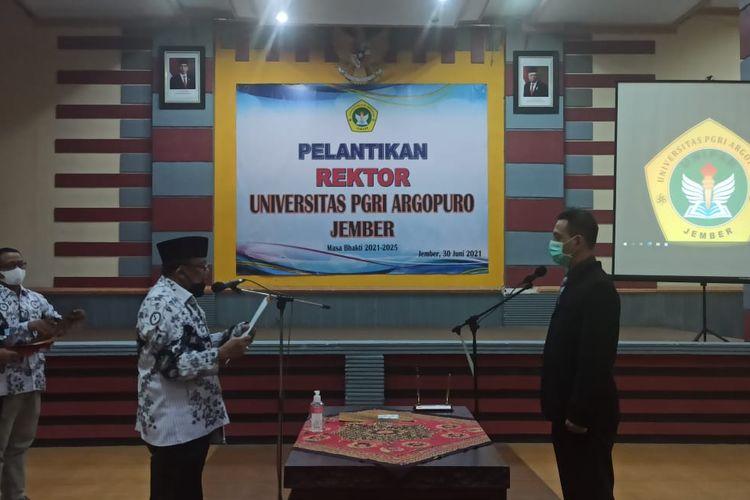 Pelantikan rektor baru Universitas PGRI Argopuro Jember pada Rabu (30/6/2021)
