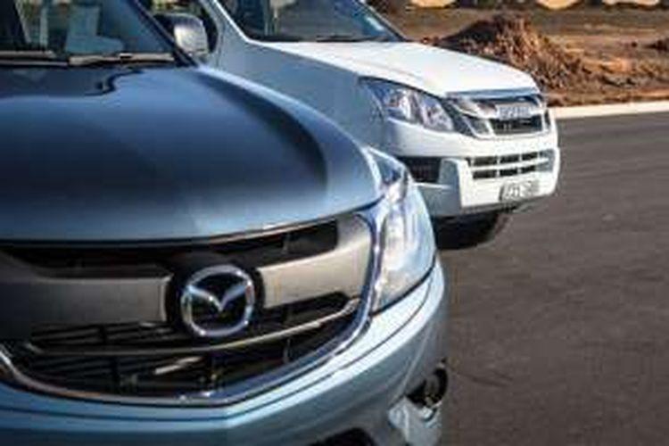Ilustrasi kolaborasi Mazda dan Isuzu.