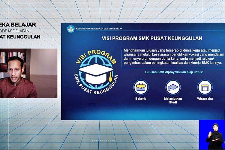 Mendikbud Nadiem Makarim menjelaskan visi program SMK Pusat Keunggulan secara daring melalui live streaming di kanal Youtube resmi Kemendikbud pada Rabu (17/3/2021)