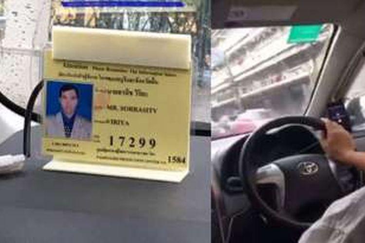 Pengendara taksi bernama Sorrasit Viriya saat mengemudikan taksinya.