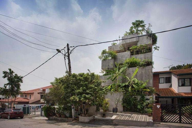 Rancangan rumah terdiri dari kotak-kotak yang dapat diisi dengan tananaman