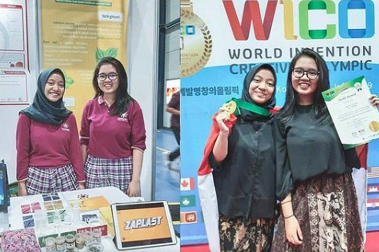 Anastasya Azzahra dan Tiara Salsabila meraih medali emas dalam World Invention Creativity Olympic (WICO) di Seoul, Korea Selatan, pada 25-27 Juli 2019.