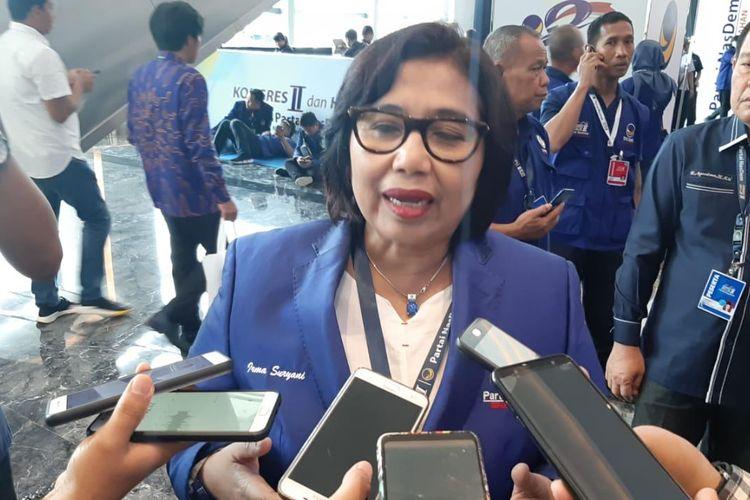 Ketua DPP Nasdem Irma Suryani Chaniago di sela Kongres II Partai Nasdem yang berlangsung di JIExpo Kemayoran, Jakarta, Sabtu (9/11/2019).
