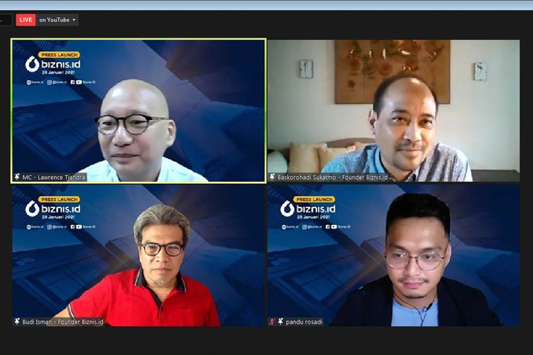 Founder Biznis.id saat press launch Biznis.id, Kamis ( 28/1/2021). (Tangkapan Layar)