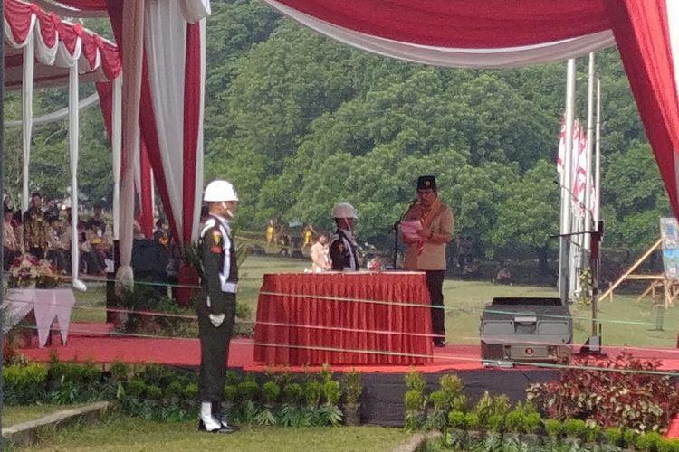 Ketua Kwartir Nasional Gerakan Pramuka Adhyaksa Dault di Raimuna Nasional XI, Senin (14/8/2017).