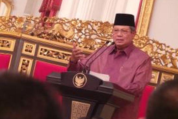 Presiden Susilo Bambang Yudhoyono saat buka puasa bersama pihak media