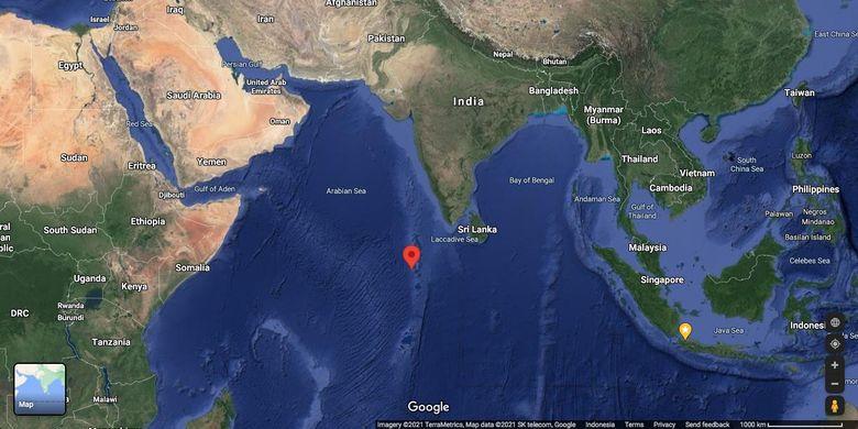 Lokasi perkiraan jatuhnya Long March-5b, roket milik China