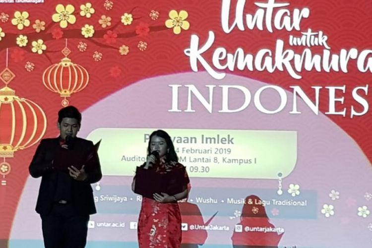 Universitas Tarumanagara (Untar) menyelenggaran perayaan Imlek 2019 dengan tema ?Untar untuk Kemakmuran Indonesia?, Kamis (14/2/2019) di Auditorium Untar, Jakarta.