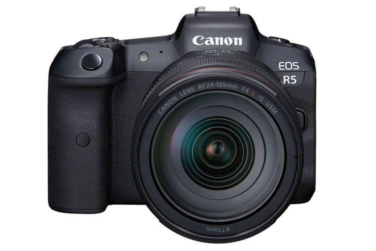 Kamera mirrorless full-frame Canon EOS R5, tampak depan