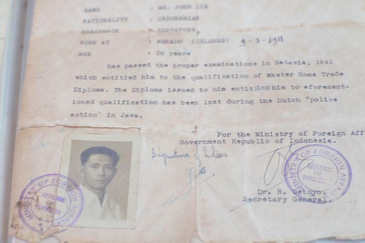 Dokumentasi John Lie di Museum Pustaka Peranakan Tionghoa.