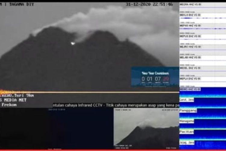 Tangkapan layar dari kamera pemantuan Gunung Merapi yang terlihat adanya cahaya pada malam tahun baru.