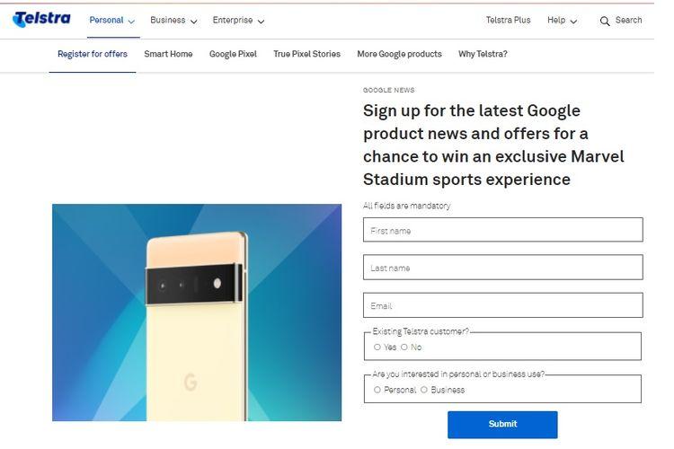 Bocoran ponsel Google Pixel 6 di situs resmi Telstra