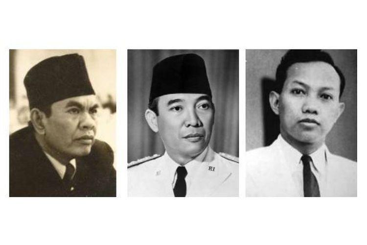 Tokoh perumus Pancasila: (dari kiri ke kanan) Moh Yamin, Soekarno, dan Soepomo