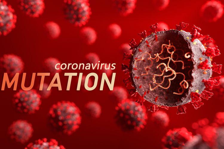 Ilustrasi varian baru virus corona, mutasi virus corona.