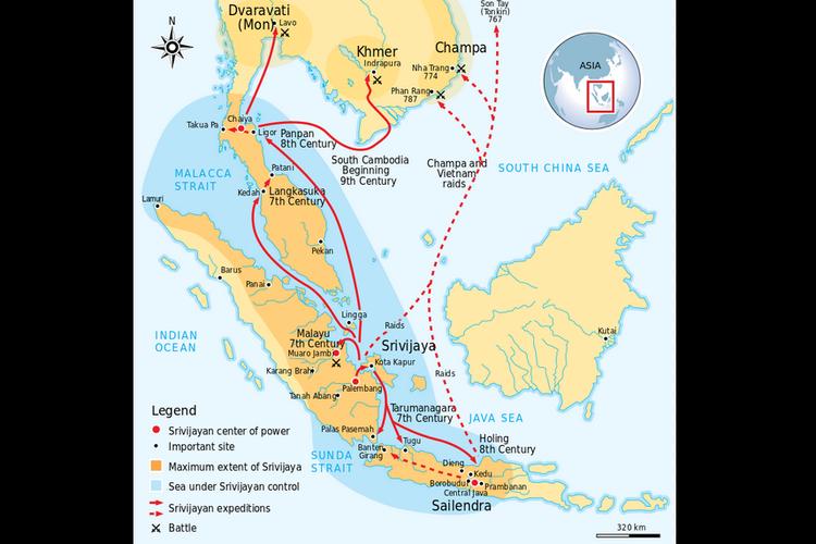 Wilayah kekuasaan Kerajaan Sriwijaya sekitar abad ke-8, membentang dari Sumatera, Jawa Tengah, hingga Semenanjung Malaya. Panah merah menunjukkan rangkaian ekspedisi dan penaklukan Sriwijaya.