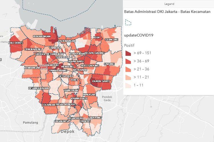 Peta sebaran kasus positif Covid-19 di Jakarta per 8 Juni 2020.