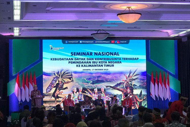 Seminar Nasional Kebudayaan Dayak dan Kontribusinya Terhadap Pemindahan Ibu Kita Negara ke Kalimantan Timur di Jakarta, Kamis (17/10/2019).