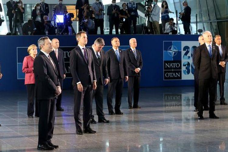 Para pemimpin NATO menggelar KTT di Brussels, Senin (14/6/2021).