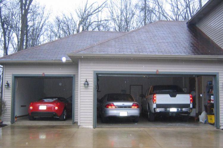Ilustrasi garasi mobil.