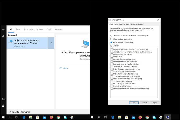 Cara mengubah pengaturan tampilan Windows 10 untuk meningkatkan performa.