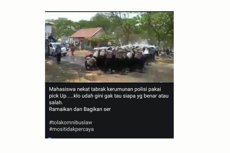 Tangkapan layar video yang diklaim merekam aksi unjuk rasa mahasiswa menolak UU Cipta Kerja.