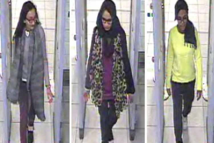 Dari kiri ke kanan: Kadiza Sultana, Shamima Begum, dan Amira Abase ketika menjalani pos pemeriksaan di Bandara Gatwick sebelum bertolak ke Suriah pada 2015.