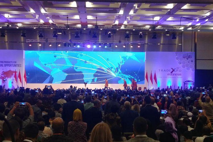Presiden Jokowi saat membuka Trade Expo Indonesia (TEI) ke-33 Tahun 2018, di ICE, BSD, Tangerang Selatan, Rabu (24/10/2018).